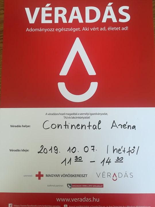 Véradás a Continental Arénában