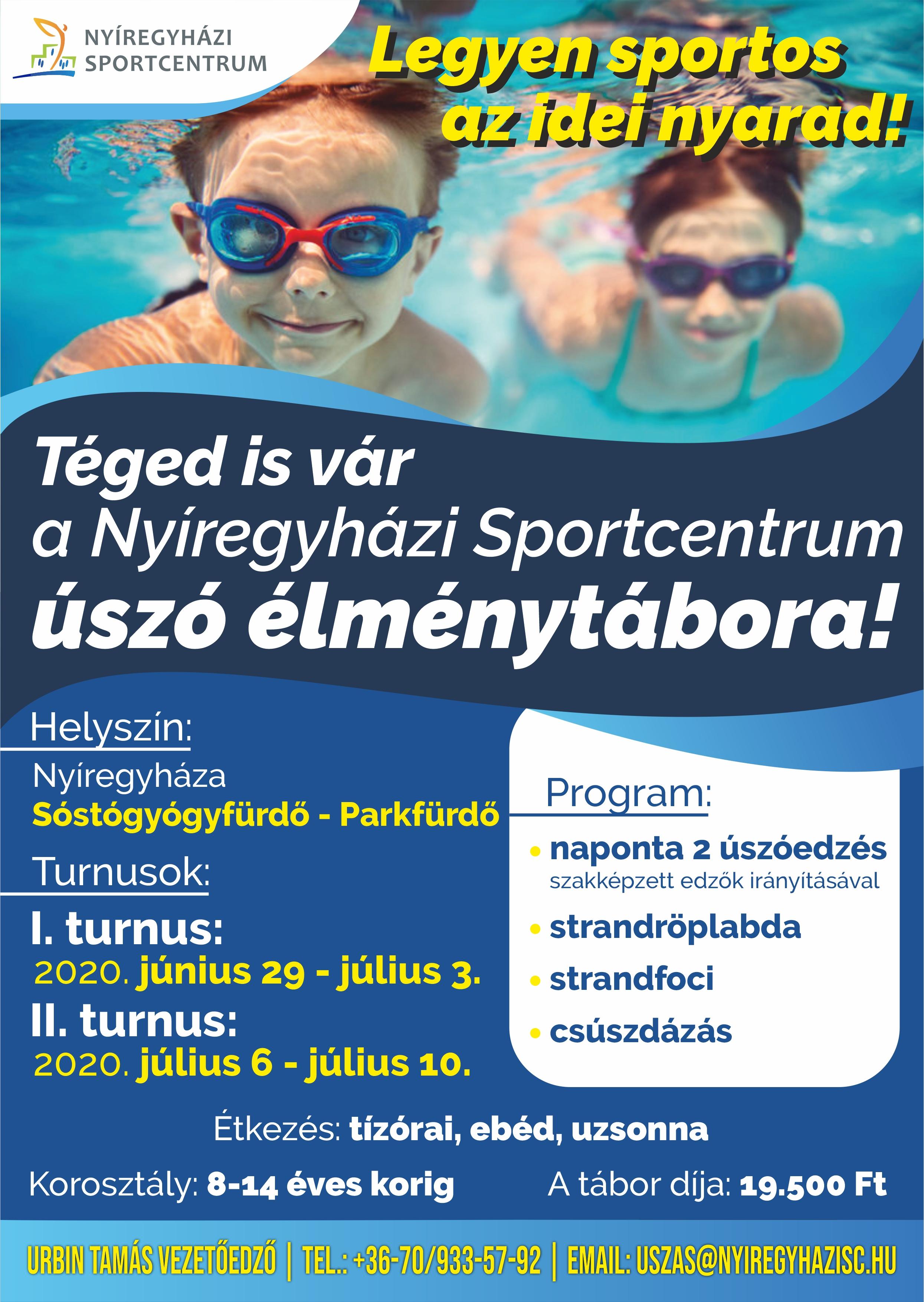 Téged is vár a Nyíregyházi Sportcentrum úszó élménytábora!